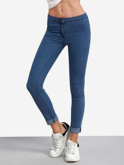 Blue High Waist Denim Slim Pant