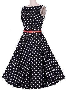 Belted Boat Neck Polka Dot Flare Dress