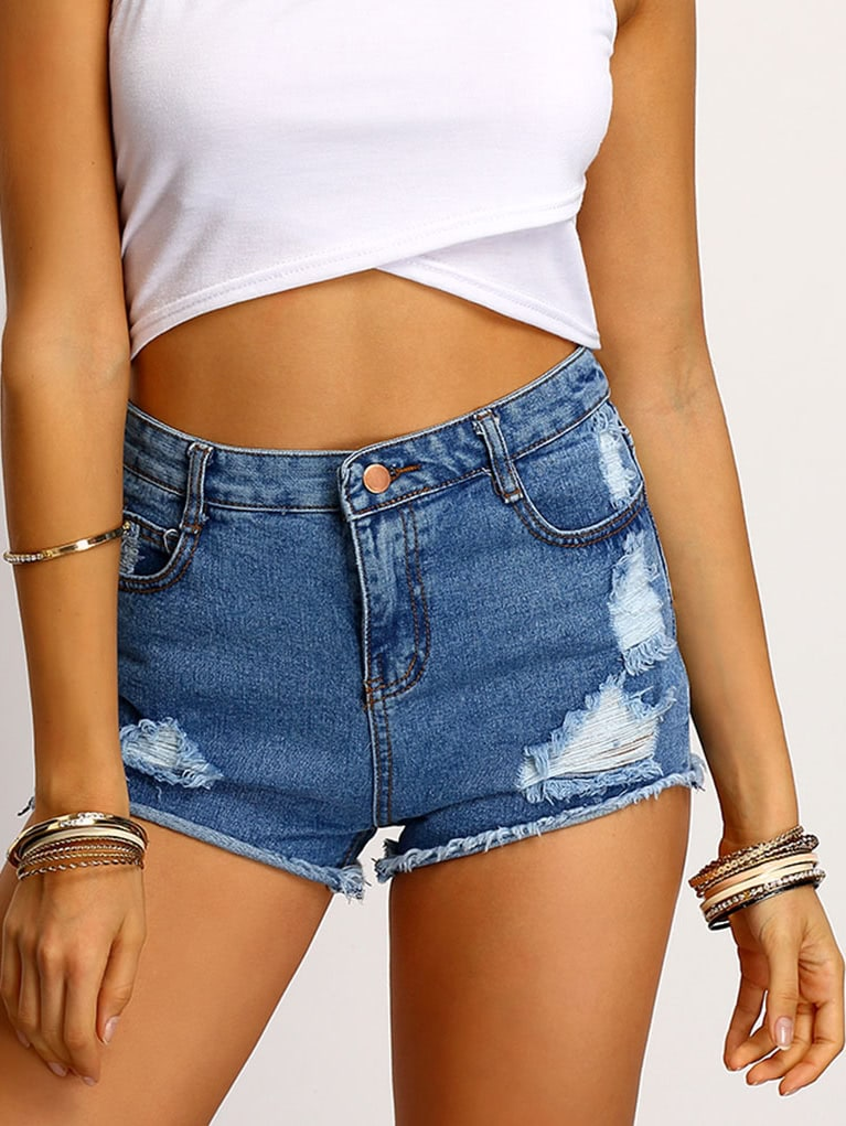Blue Frayed Ripped Denim Shorts