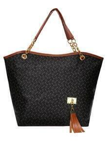 Allover Print Tassel Embellished Tote Bag