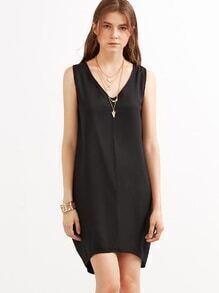Black V Neck Tank Dress