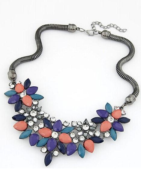 Многоцветный Драгоценный Камень Цветок Ожерелье
