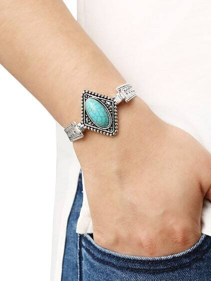 Oval Turquoise Set-in Carved Bracelet