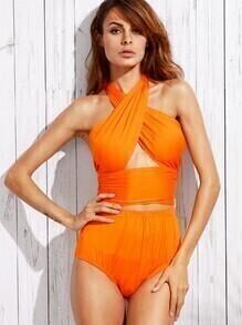 Cutout Cross Wrap Halter Bikini Set