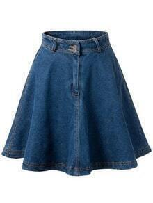 Blue High Waist Denim Flare Skirt