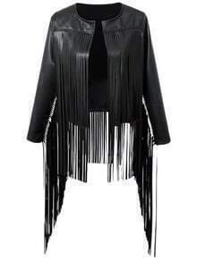 Black Long Sleeve Fringe PU Leather Jacket