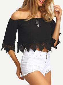 Scalloped Crochet Trimmed Off-the-shoulder Black Blouse