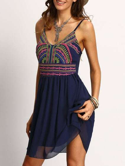 Navy Spaghetti Strap Print Dress