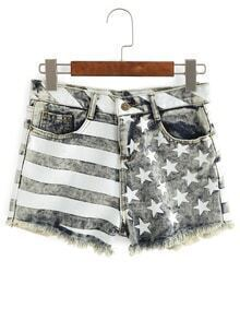 Frayed Stars And Stripes Jeans Shorts