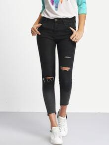 Ombre Ripped Skinny Ankle Jeans