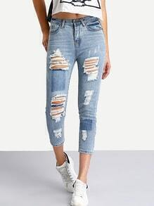 Ripped 3/4 Length Skinny Jeans