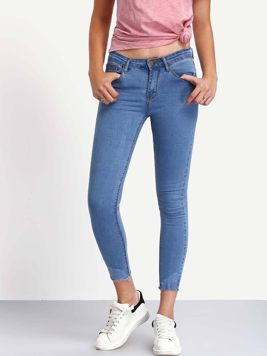 Frayed Light Blue Skinny Ankle Jeans