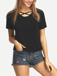 Crisscross Front Neck Black T-shirt