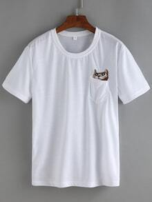 Embroidered Cat Pocket T-shirt