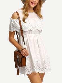 Open Shoulder Flounce Embroidery Eyelet Dress
