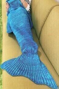 Fishtail Shaped Knitted Light Blue Blanket