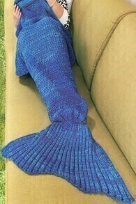 Fishtail Shaped Knitted Navy Blanket