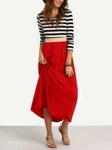 Vestido suelto manga larga rayas
