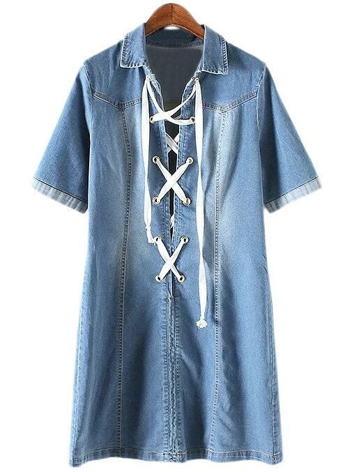 Blue Short Sleeve Lace Up Front Lapel Denim Dressfor Women
