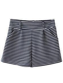 Navy White Stripe Pockets High Waist Shorts