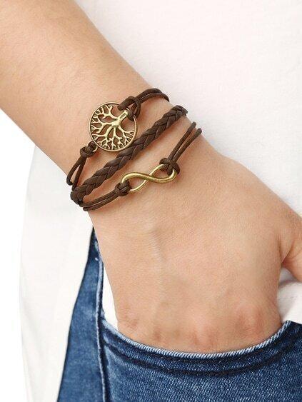 Brown Braid Tree Bracelet