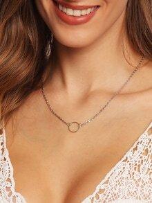 Collar anillo cadena enlace -plata