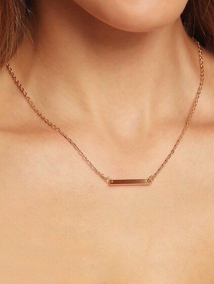 Metal Bar Pendant Link Necklace