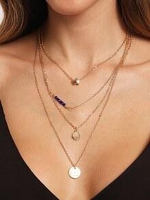 Charm Pendant Wrap Link Necklace