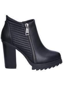 Black Chunky Heel Zipper PU Boots