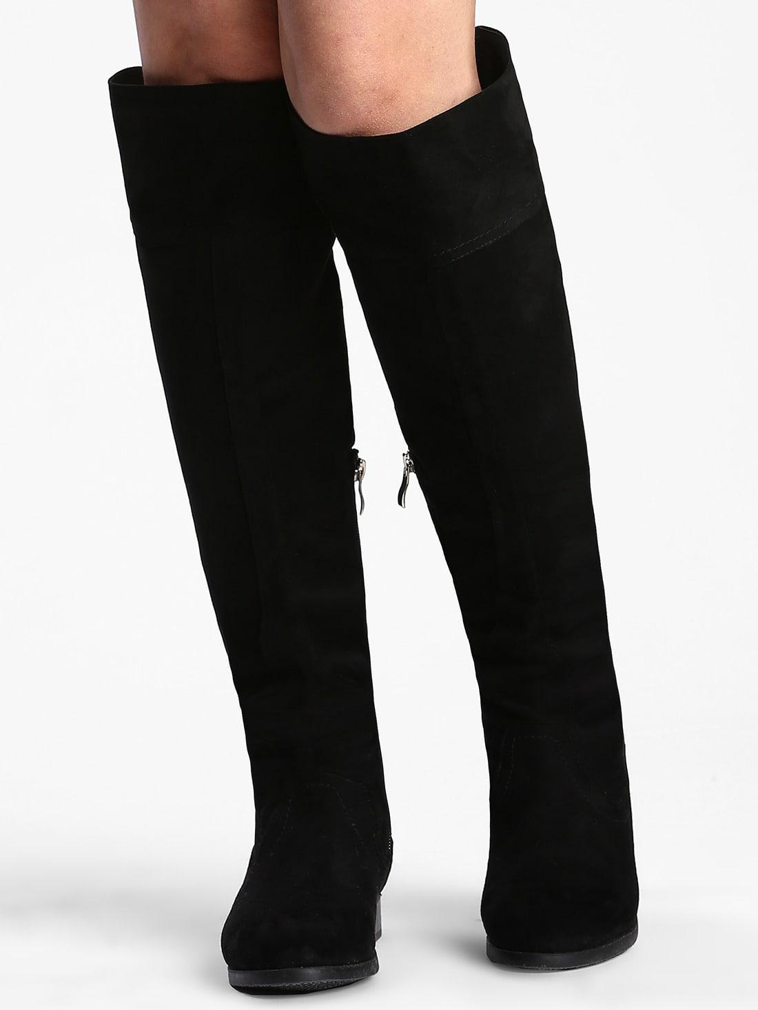 Black Tassel Suede High Boots - $25.89