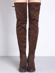 Brown Lace Up Over The Knee High Heeled Boots