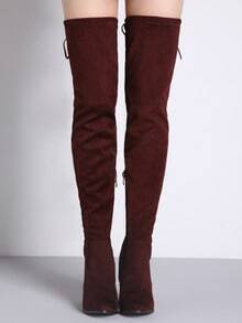 Burgundy Lace Up Over The Knee High Heeled Boots