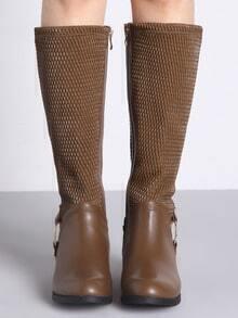 Khaki Metallic Embellished Flat Boots