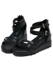 Black Buckle Strap PU Sandals