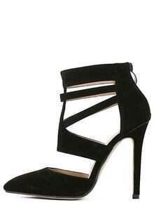 Black Point Out Zipper Stiletto Heels
