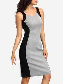 Back Slit Contrat Panel Tank Dress