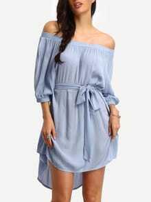Off-the-shoulder Self-tie High Low Dress