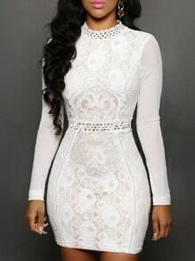 White Lace Keyhole Back Bodycon Dress