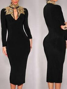 High Neck Sequined Keyhole Pencil Dress