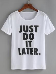 T-Shirt Rundhals mit Buchstaben Druck -weiß