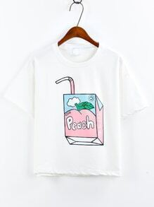 Juice Box Print White T-shirt