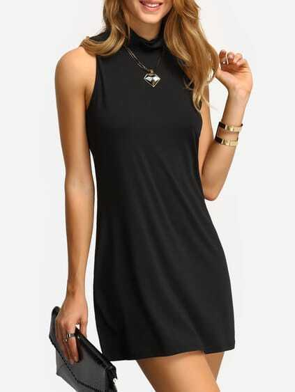 Mock Neck A-Line Tank Dress