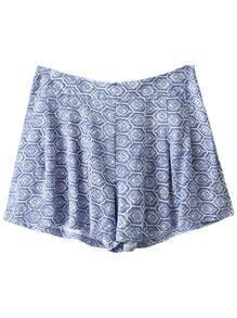 Blue Flower Print Zipper Side Pleated Shorts