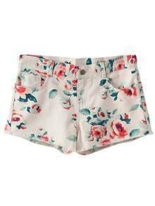 Multicolor Flower Print Pockets Denim Shorts