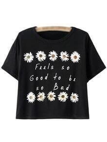 Black Short Sleeve Letter Daisy Print T-shirt