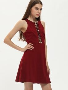 Burgundy Sleeveless Lace Up Dress
