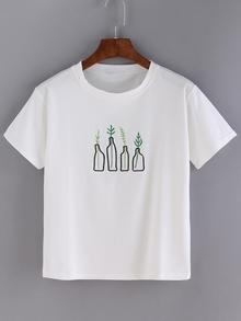 T-shirt imprimé bouteilles manche courte -blanc