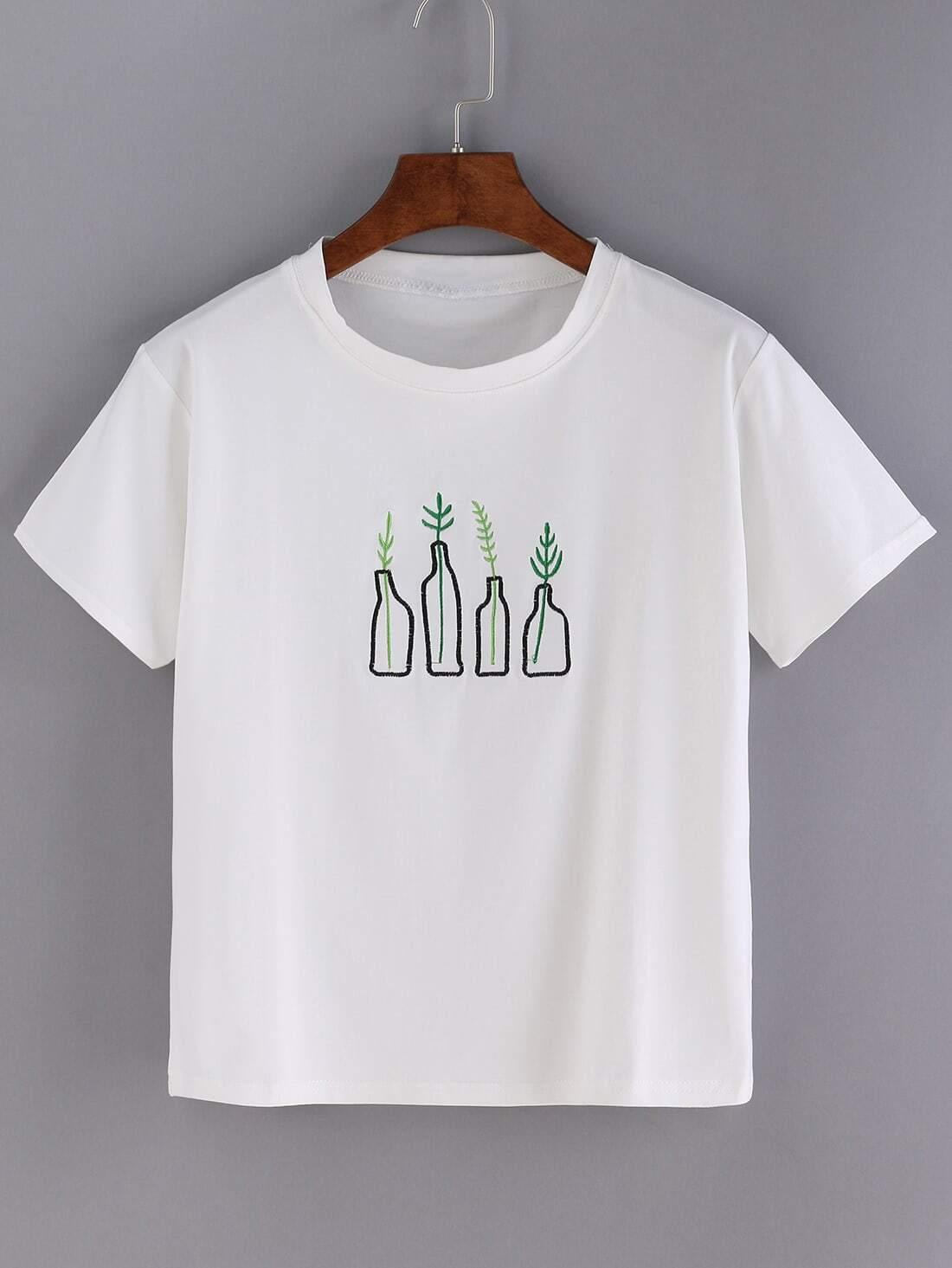White bottle print short sleeve t shirtfor women romwe for White t shirt printing