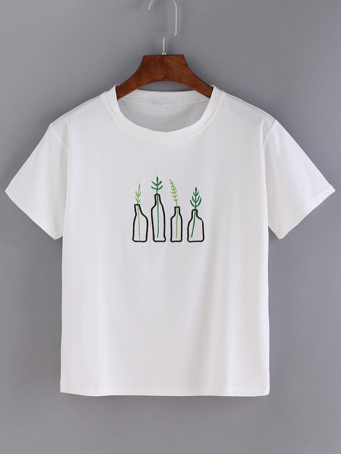 White Bottle Print Short Sleeve T Shirt