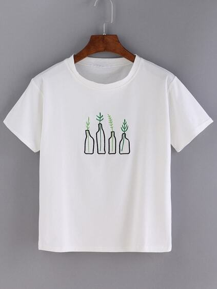 White Bottle Print Short Sleeve T-shirt